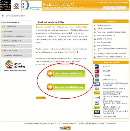 Sede Electrónica   Agencia Española de Protección de Datos   Opciones