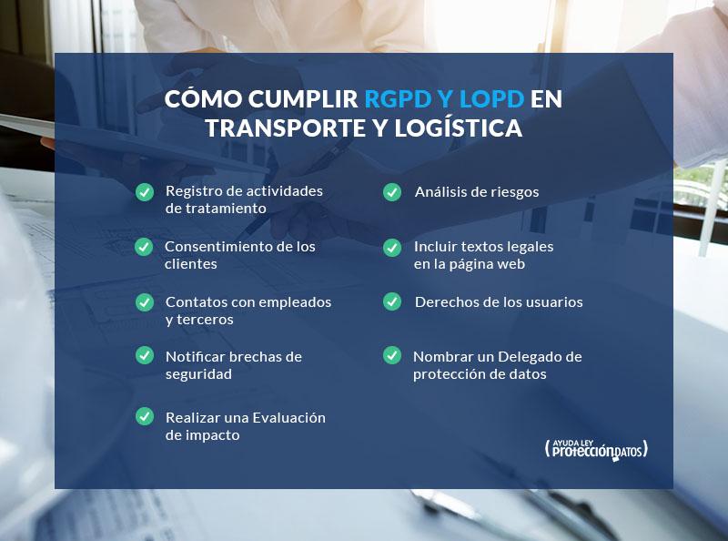 Pasos cumplir ley lopd rgpd en el transporte y la logística