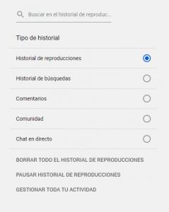 Imagen ejemplo eliminar historial youtube