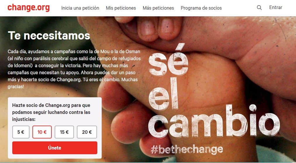 Cuotas de socios change.org