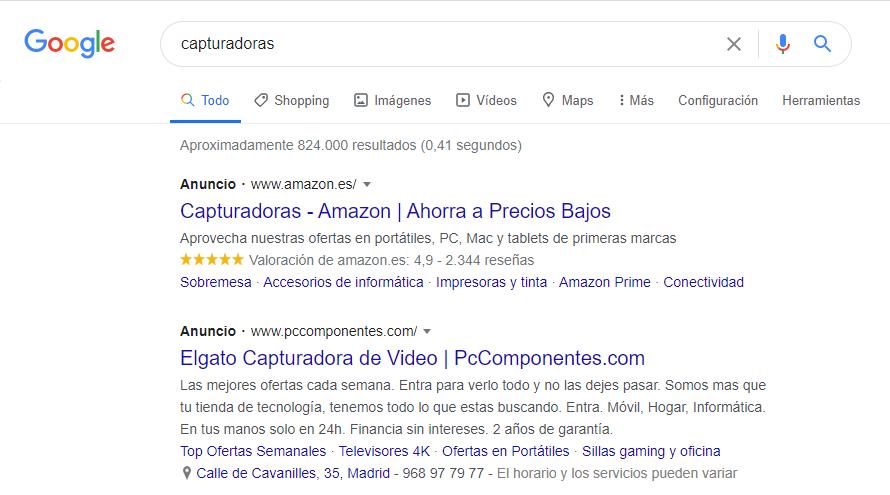 Imagen ejemplo publicidad programática en Google