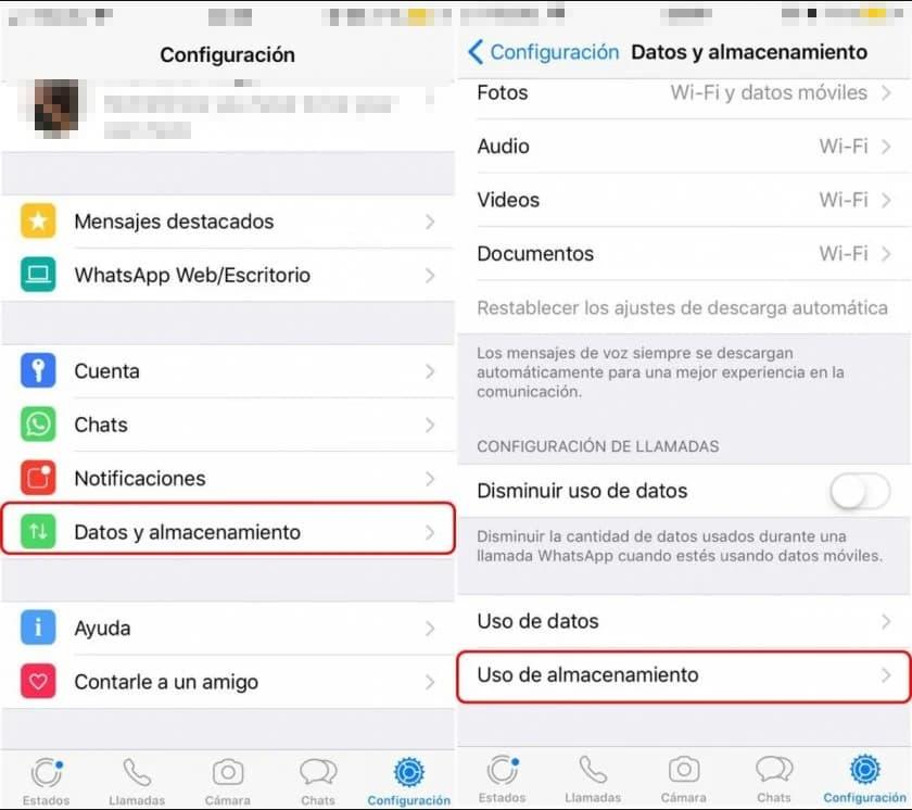 Captura pantalla para borrar datos de whatsapp en iphone 1