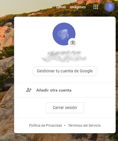Pantalla gestionar cuenta copia de seguridad gmail
