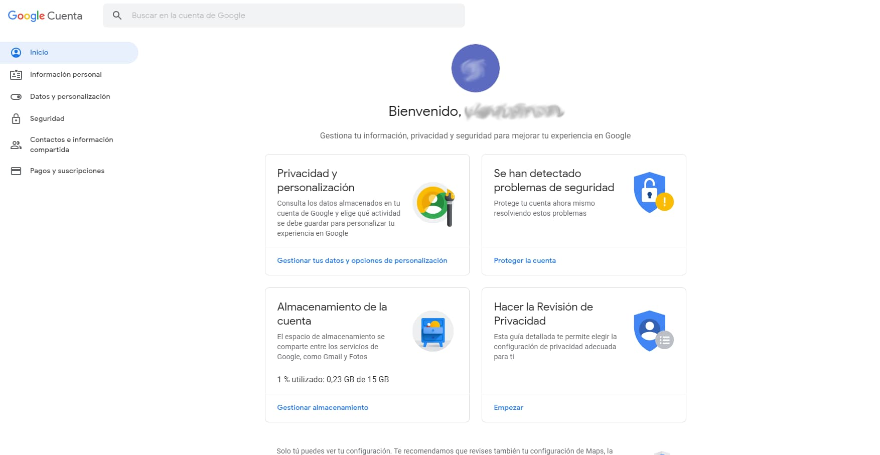 Pantalla opciones cuenta copia de seguridad gmail