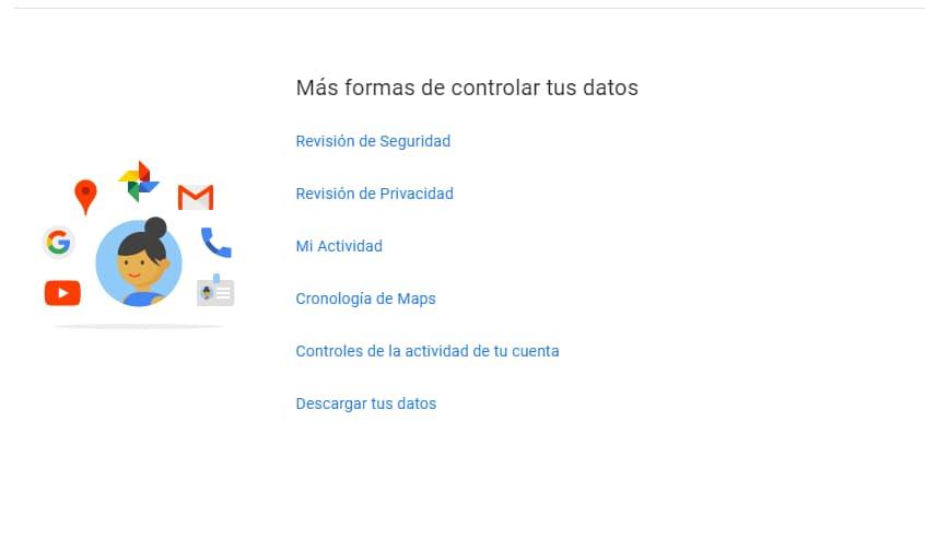 Pantalla opciones descarga de datos copia de seguridad gmail