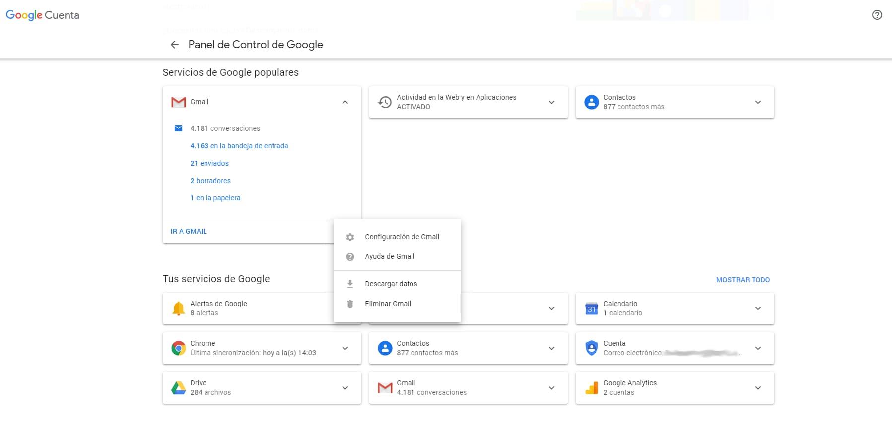 Pantalla opciones copia de seguridad gmail