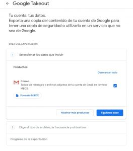 Pantalla descarga de datos gmail copia de seguridad gmail