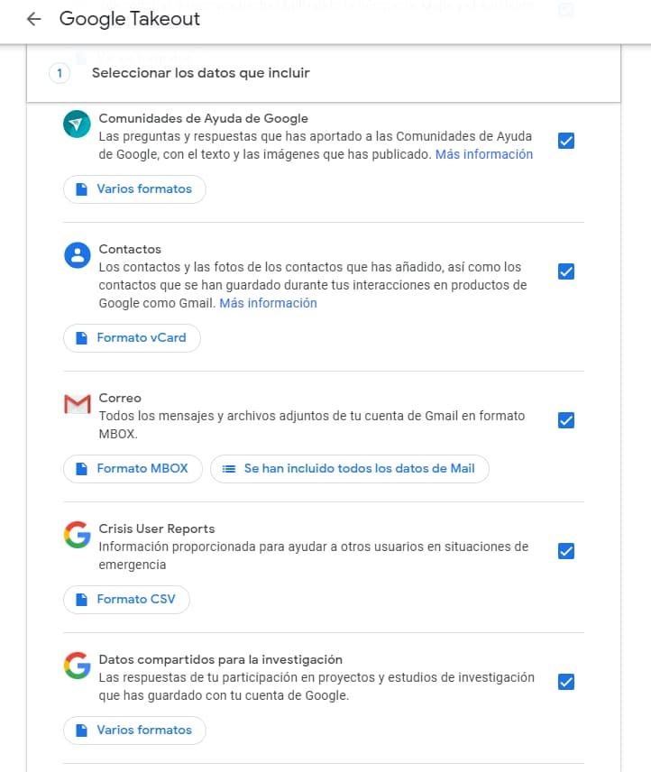 Pantalla descarga de datos copia de seguridad gmail