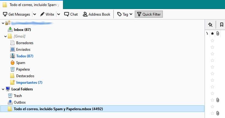 Pantalla Thunderbird copia de seguridad gmail