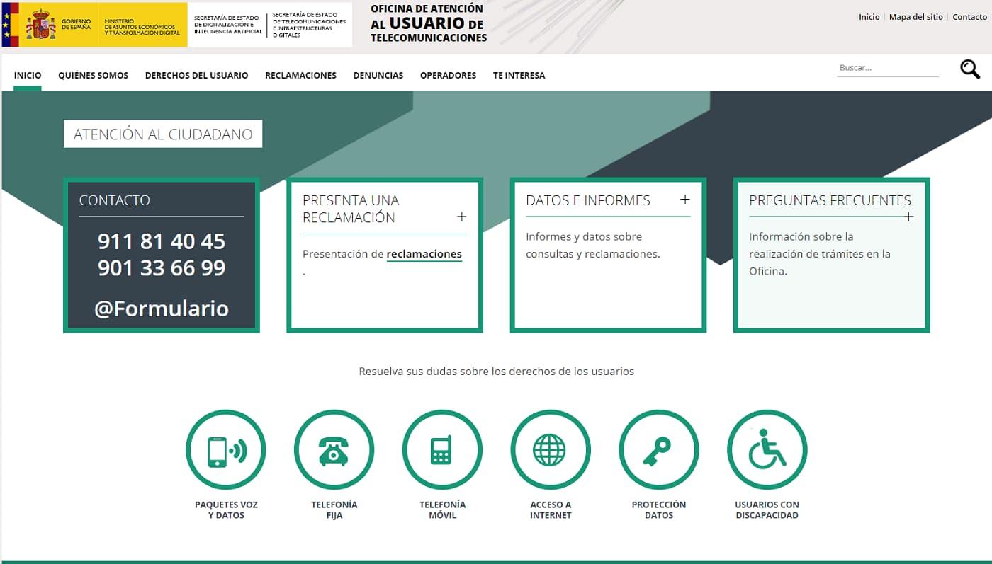 Reclamaciones Jazztel página web oficina atención al consumidor