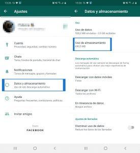 Captura pantalla para borrar datos de whatsapp en android 1