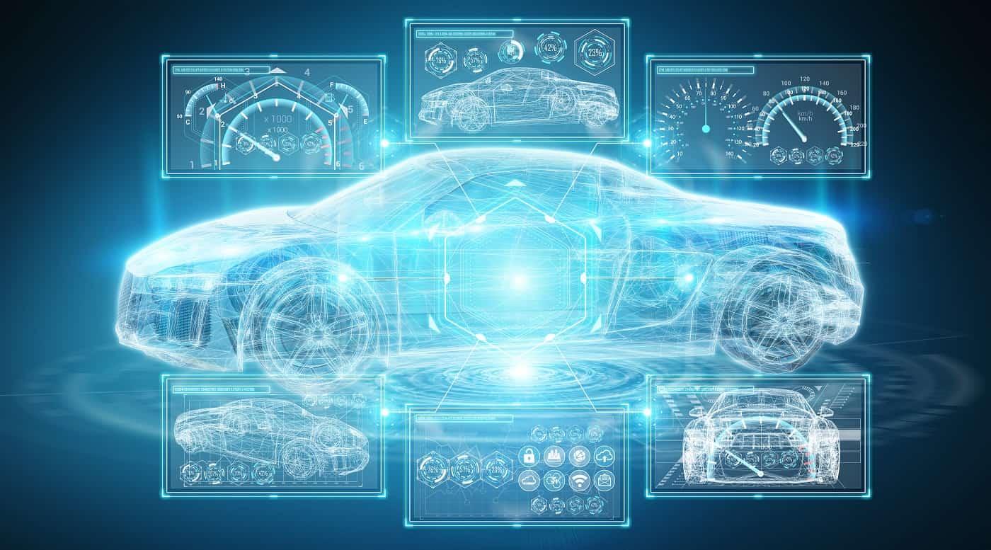 Imagen conceptual de coche inteligente coches conectados