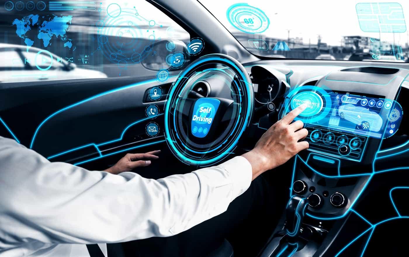 Concepo de coche inteligente coches conectados