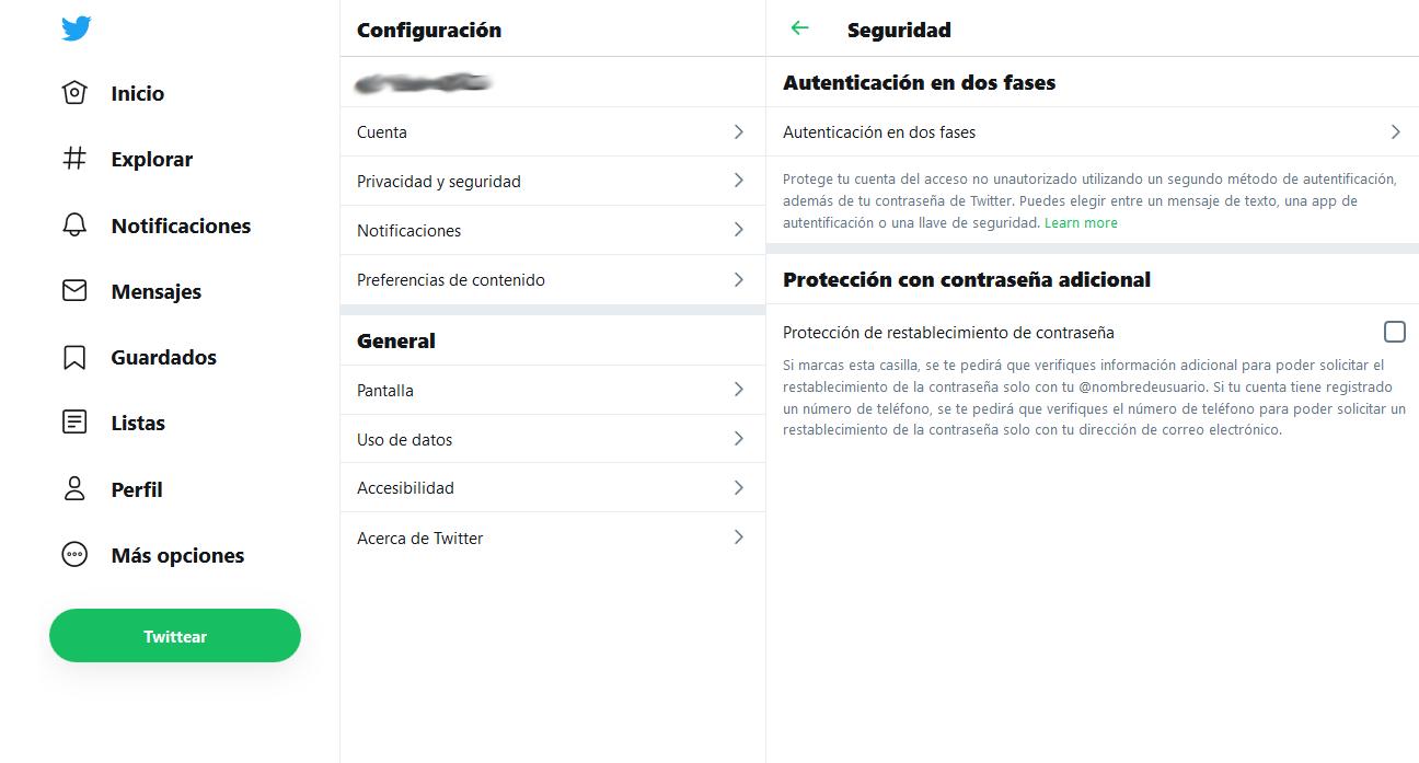 Captura pantalla verificación dos factores hackeo twitter