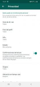 Pantallazo ajustes de privacidad whatsapp