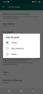 Pantallazo foto de perfil privacidad whatsapp