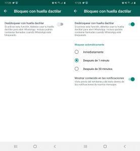 Pantallazo bloque aplicación privacidad whatsapp