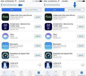 Pantallazo recuperar aplicaciones borradas iOS