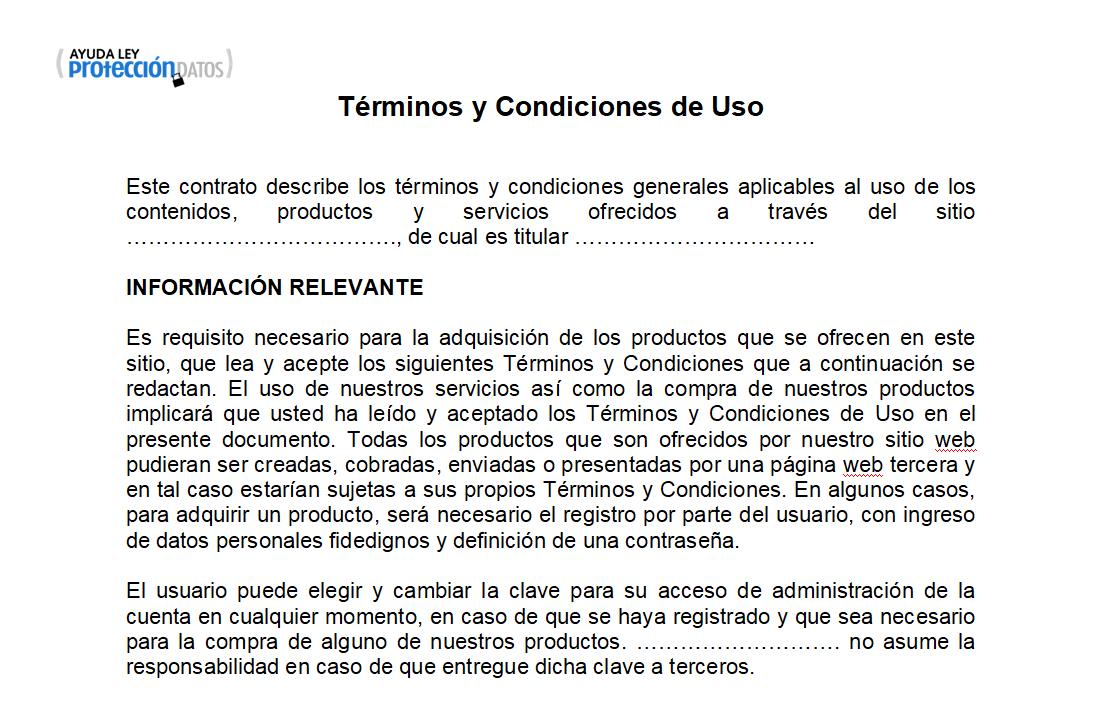 Captura pantalla términos y condiciones tienda online
