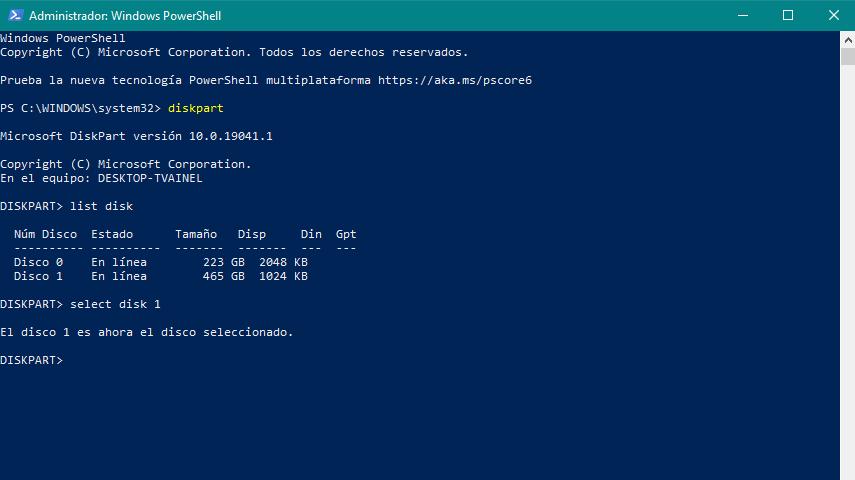 Captura pantalla formatear disco duro externo PowerShell