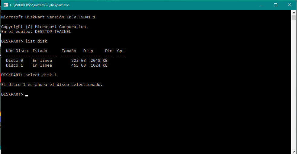 Captura pantalla formatear disco duro externo símbolo del sistema