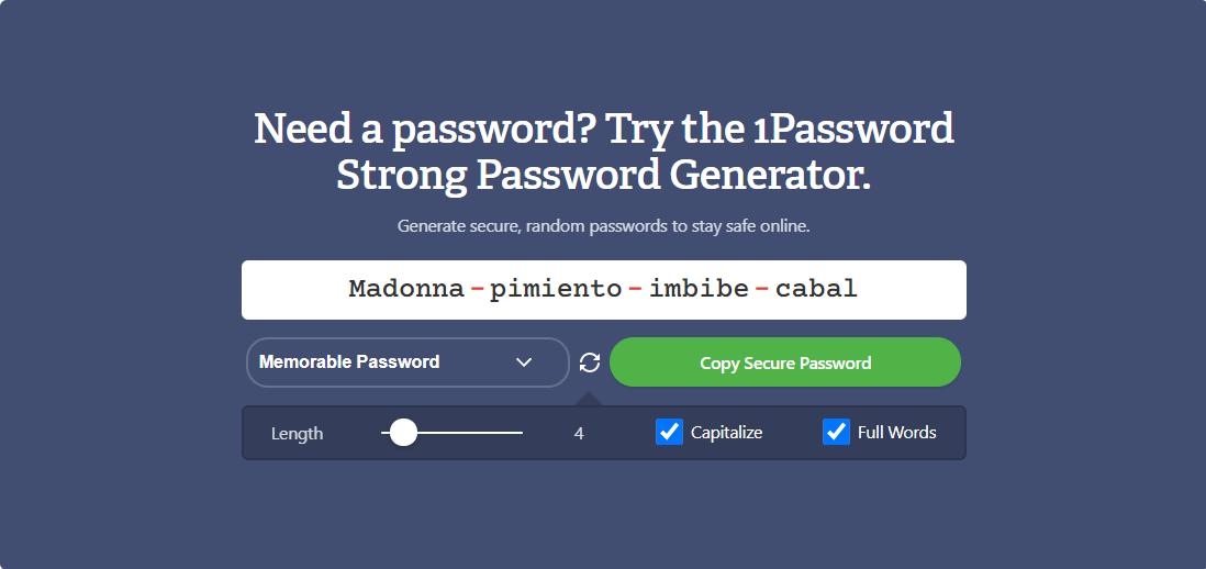 1Password generadores de contraseñas seguras
