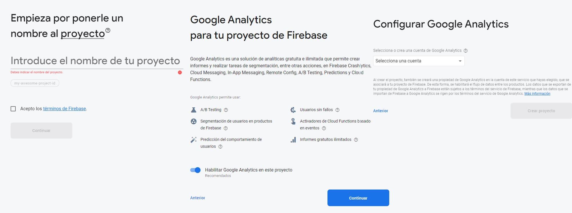 Configurando bases de datos firebase. Paso 1