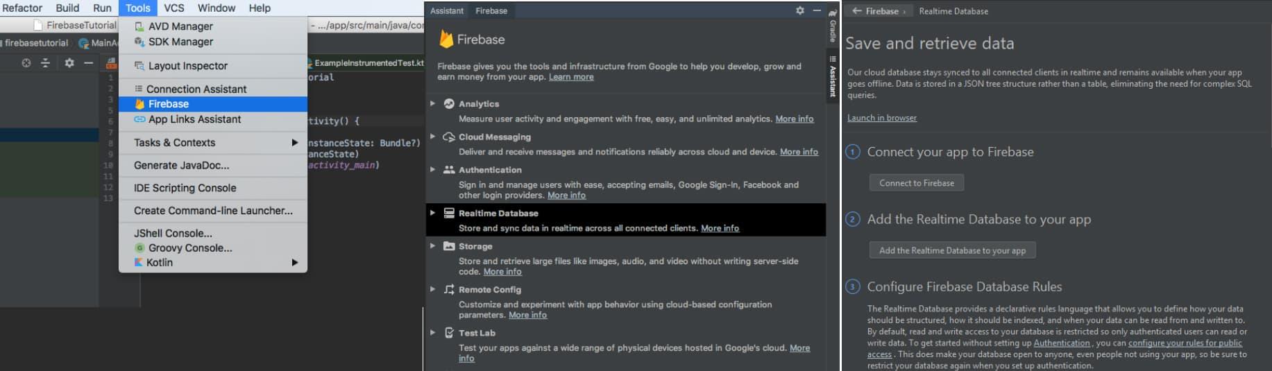 Agregar Firebase asistente Android Studio bases de datos firebase