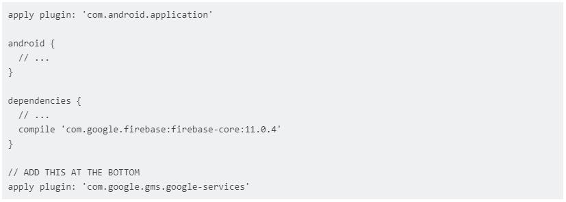 Ejemplo agregar dependencias bases de datos firebase 2