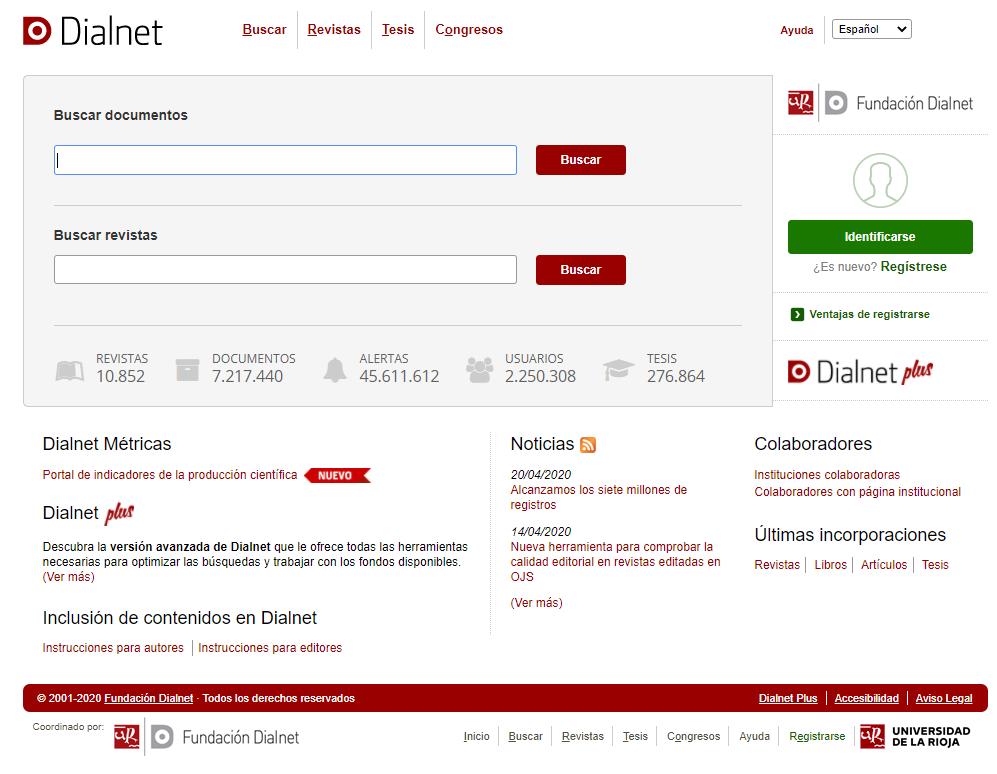 Dialnet: ejemplo de una base de datos bibliográfica