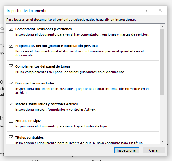 Inspeccionar metadatos en Word