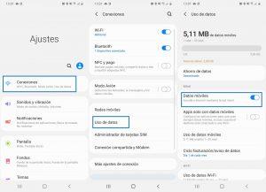 Datos móviles desde ajustes