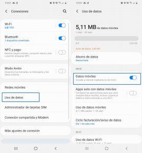 Desactivar datos móviles desde menú ajustes