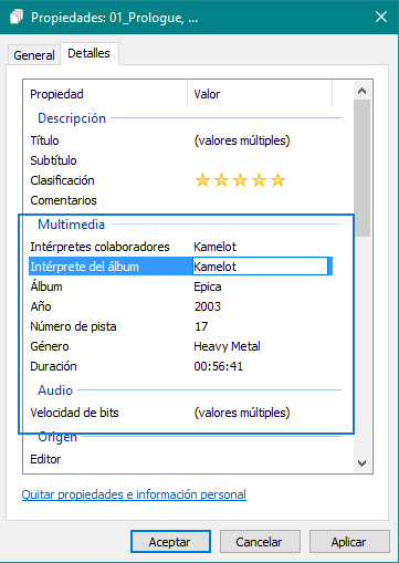 Editar album metadatos mp3 con explorador Windows