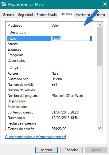 Editar metadatos word desde el explorador de Windows