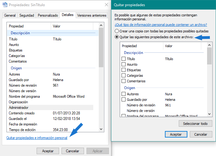 Borrar metadatos word desde el explorador de Windows