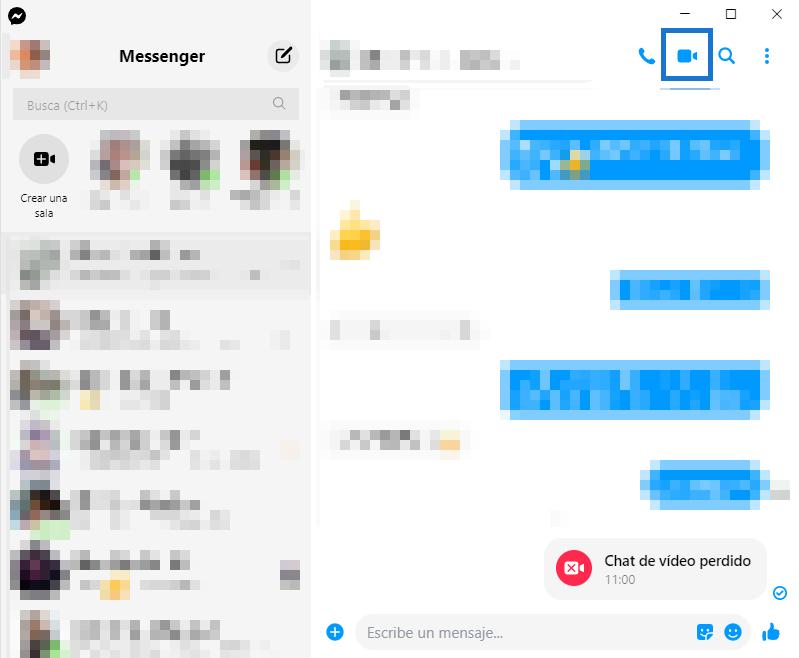 Facebook messenger videollamadas escritorio