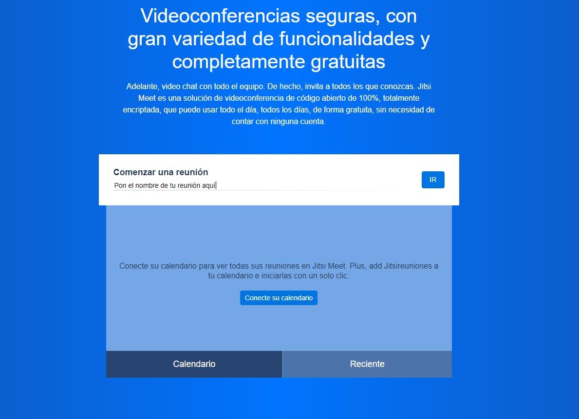 Iniciar videoconferencia con Jitsi meet