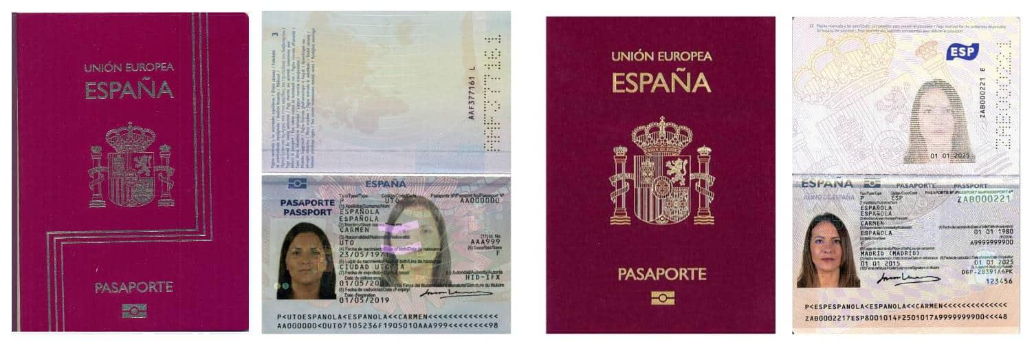 Modelos de pasaporte biométrico en España