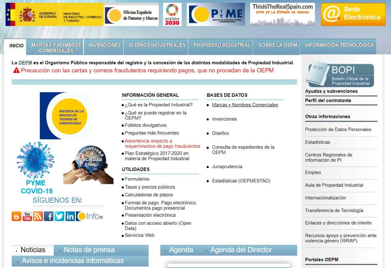 Página OEPM para iniciar registro patentes o marcas