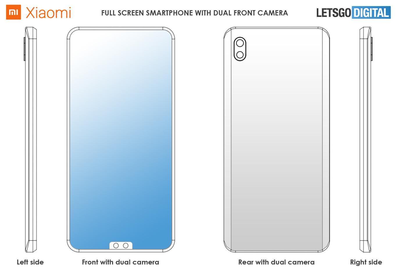 Patente Xiaomi Modelo teléfono con notch inferior