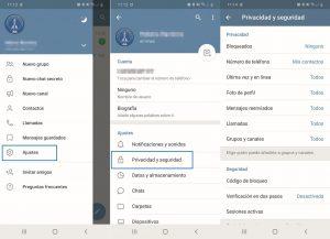 Ajustes de privacidad en Telegram