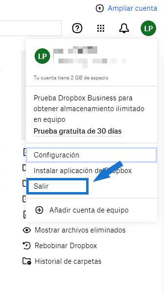 Cerrar sesión desde la web de Dropbox