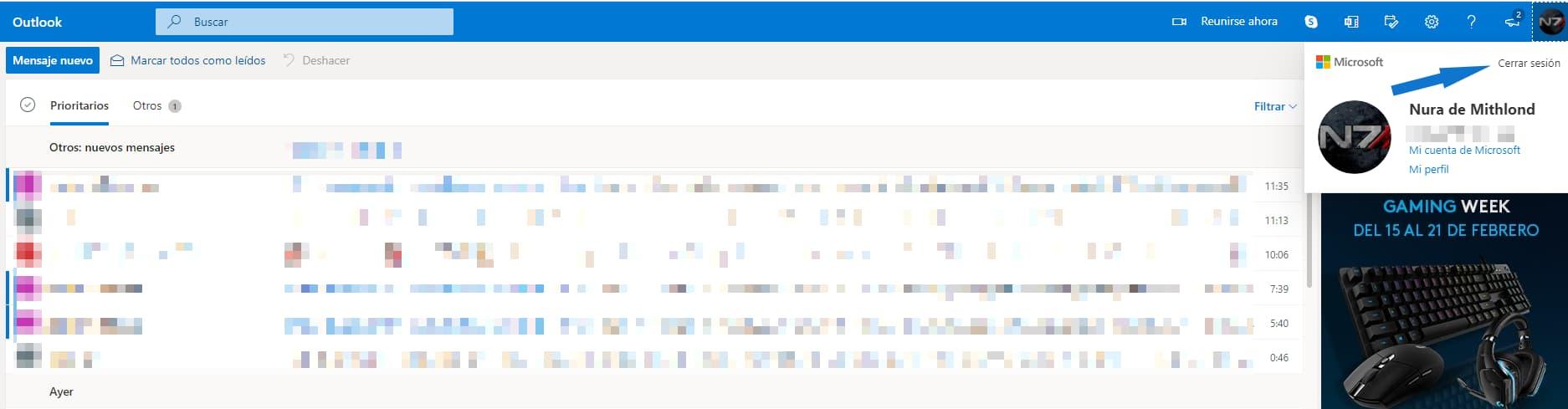 cerrar sesión en el nuevo Hotmail