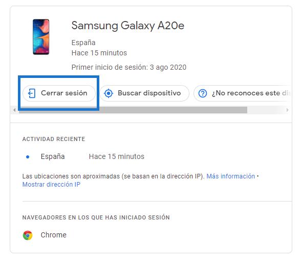 Cerrar sesión Play store Samsung Galaxy