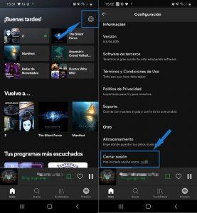 Cerrar sesión en spotify desde el móvil o la tablet