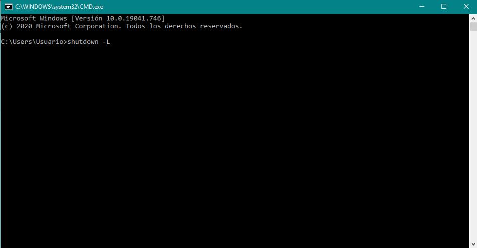 Cerrar sesión en Windows 10 con la consola de comandos