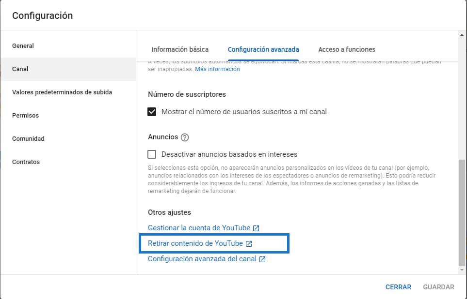 Eliminar contenido youtube