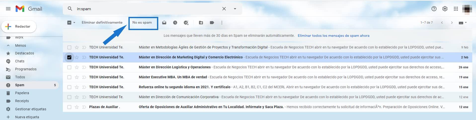 Recuperar un mensaje spam