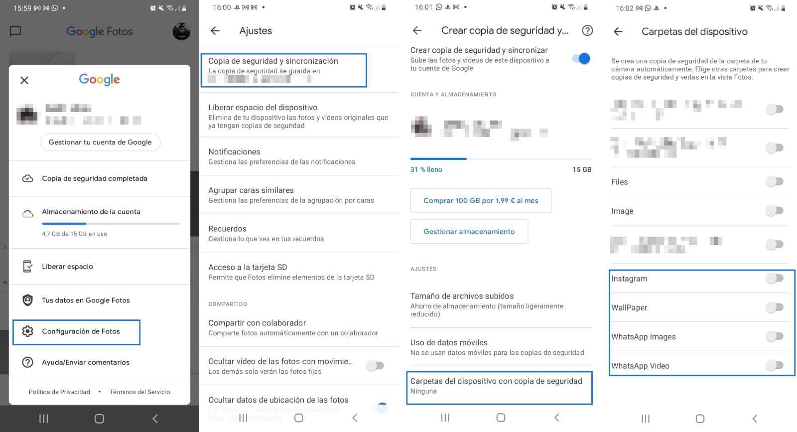 Copia de seguridad de fotos y vídeos Android